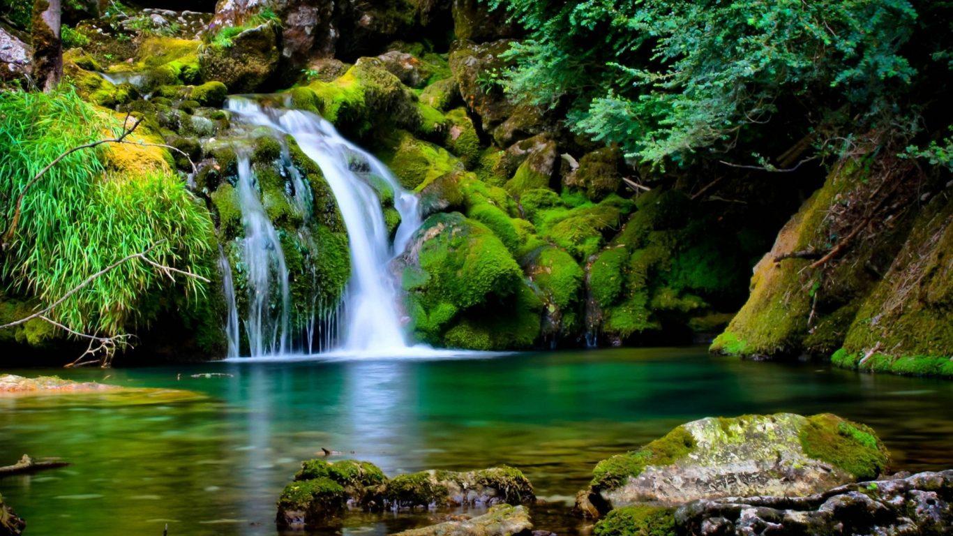 Beautiful Nature Background, Waterfall Beautiful Nature