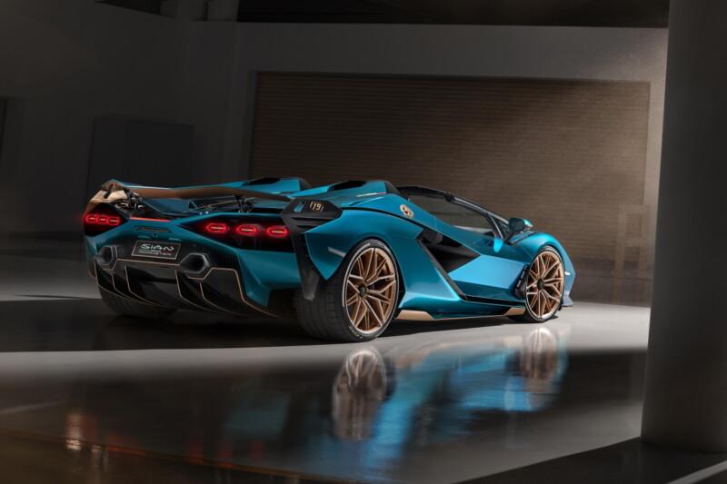 Blue Lamborghini Sian Roadster
